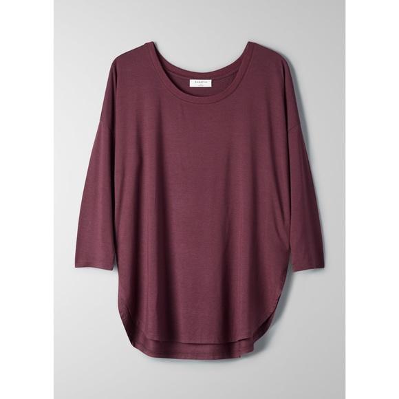 Aritzia Babaton Norris 3/4 Length Shirt Burgundy